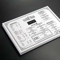 Set de table Set Recto Verso Papier blanc Imp Noir