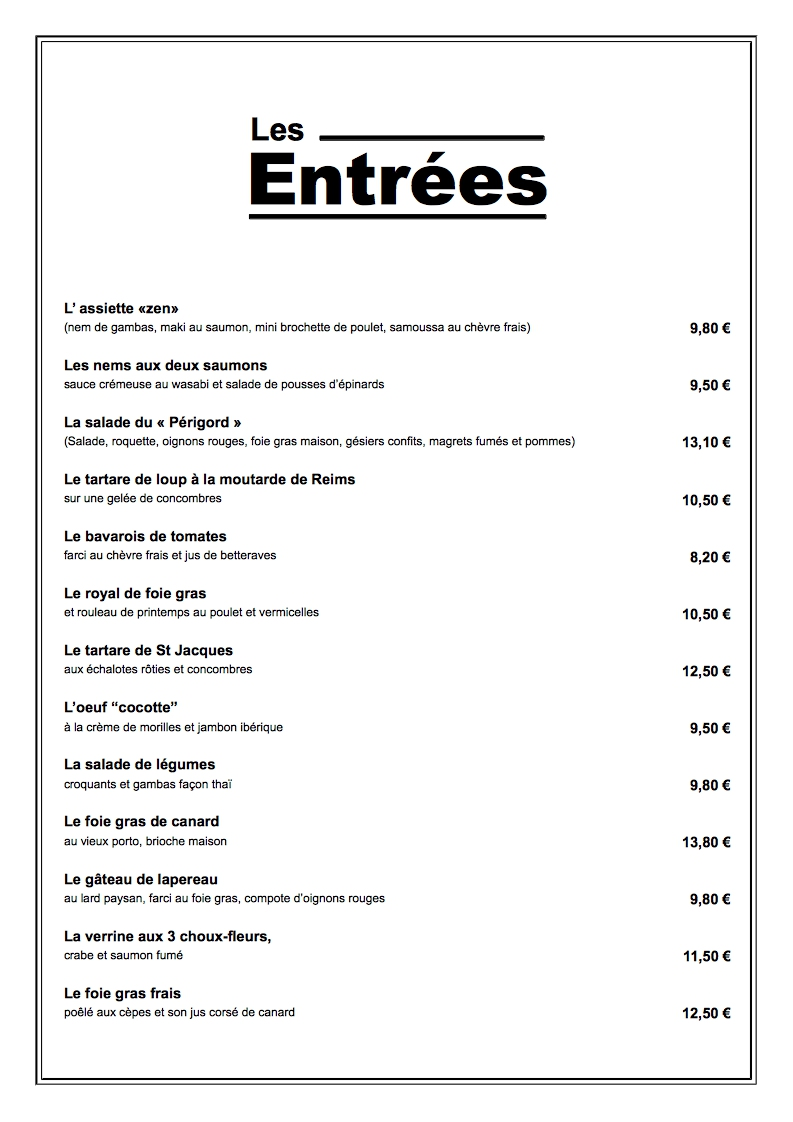 exemple de menu restaurant a4 vertical gratuit