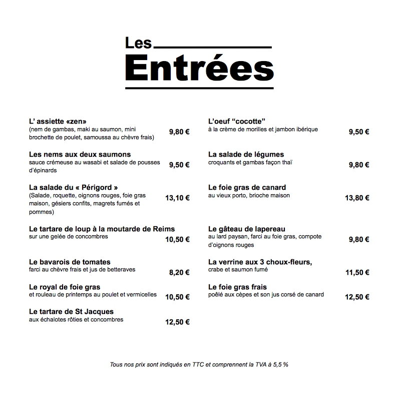 Carte Menu Restaurant Exemple
