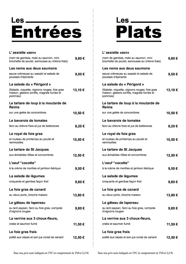Menu Restaurant Dentreprise